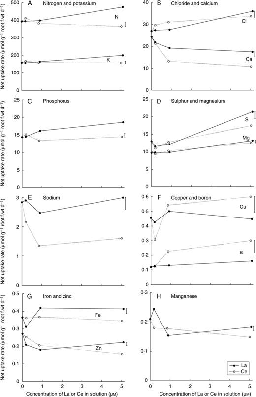 Effects Of Lanthanum And Cerium On The Growth And Mineral Nutrition