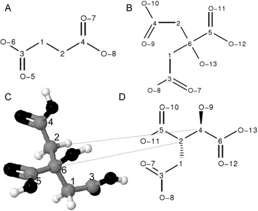 Chemical structures of metabolites with homotopic and