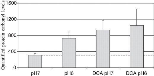 Deoxycholic acid at neutral and acid ph is genotoxic to oesophageal protein oxidation levels as measured by dot blots of oe33 proteins using an antibody against derivatized ccuart Images