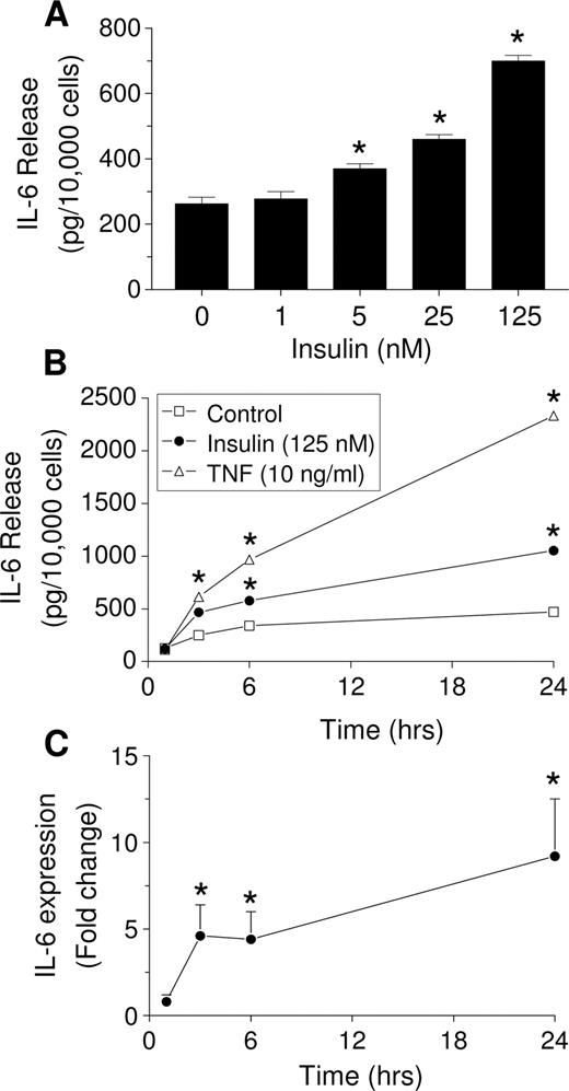 Time- and dose-dependent effect of insulin on IL-6 release