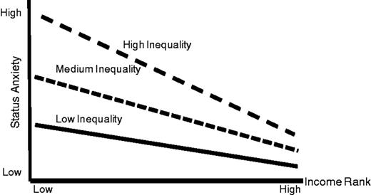 Hypothesized relationship between country gini, individual income rank, and status anxiety if country income inequality influences status anxiety intercept and income rank slope.
