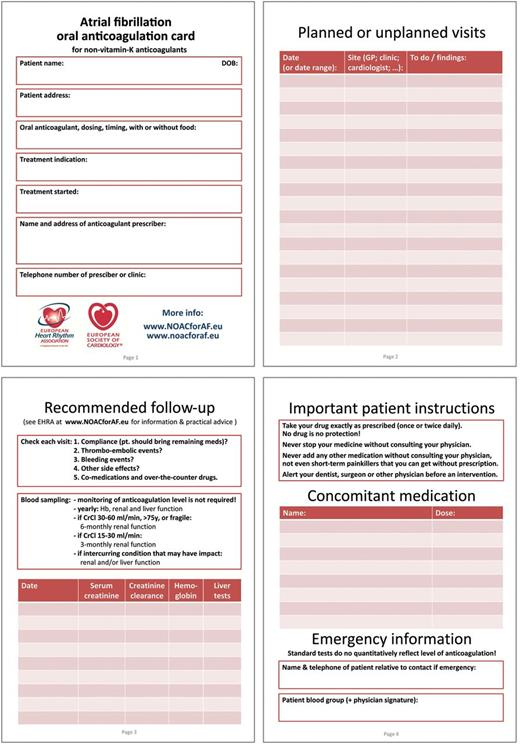 Ehra Practical Guide On The Use Of New Oral Anticoagulants In