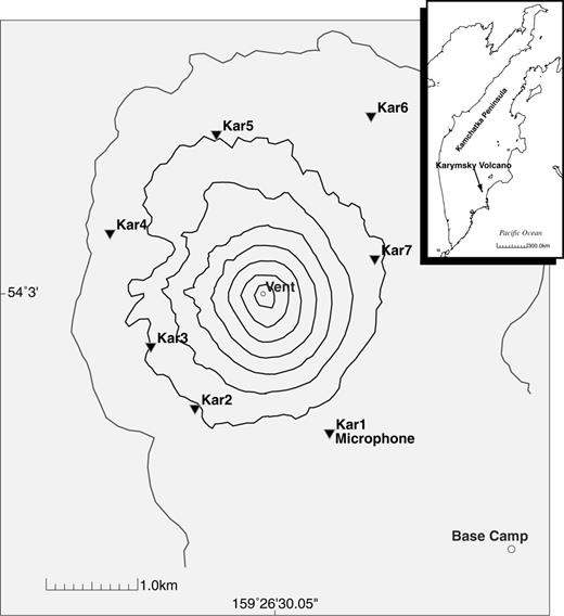 Explosions and periodic tremor at karymsky volcano kamchatka map of karymsky volcano with the station configuration in 1997 the data presented in this ccuart Images