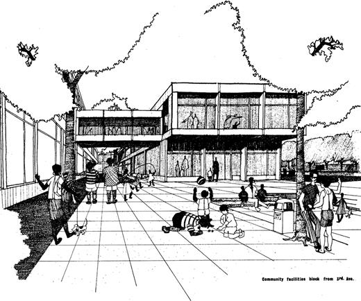 This August 1968 architect's rendering shows Triangle