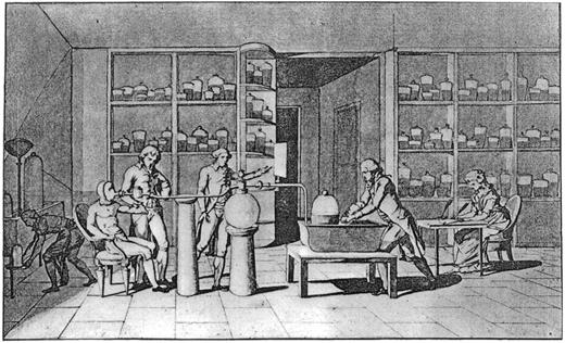 Schematic drawing by Mme. Lavoisier of her husband measuring the carbonic acid output of his collaborator Armand Seguin, while she noted down the results. (Wellcome Institute, London)