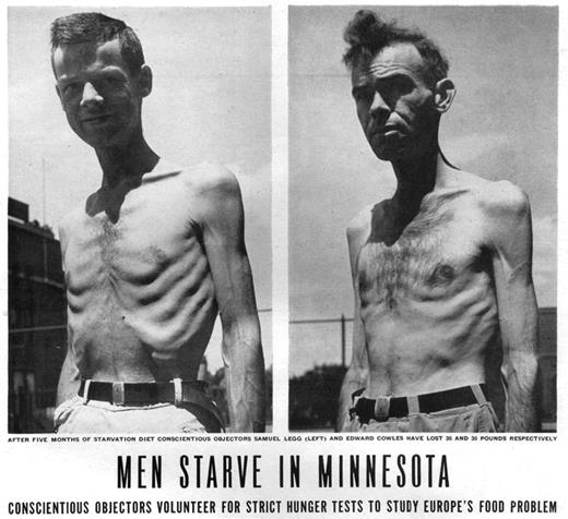 Life magazine photograph of conscientious objectors during starvation experiment. July 30, 1945. Volume 19, Number 5, p. 43. Credit: Wallace Kirkland/Time Life Pictures/Getty Images.