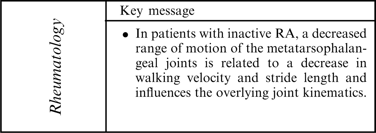 Effects Of Loss Of Metatarsophalangeal Joint Mobility On Gait In